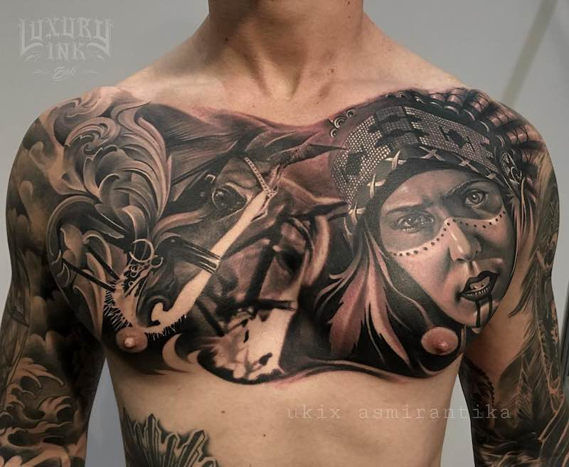 Chest Piece Tattoo by Ukix Asmirantika