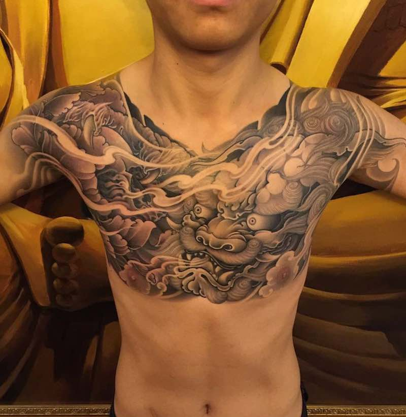 Chest Piece Tattoo by Zhanshan