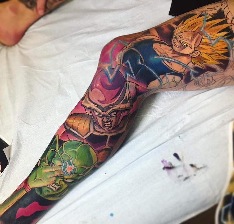 Dragon Ball Z Tattoo Sleeve by Derek Turcotte -