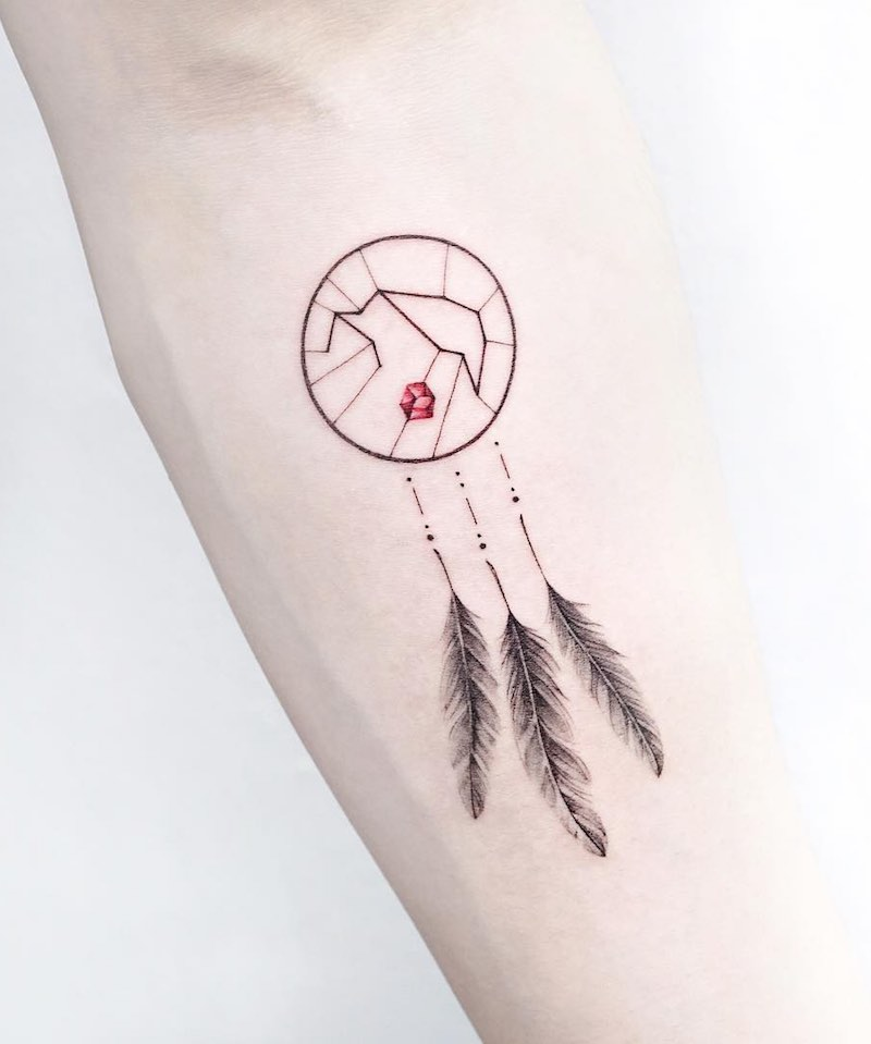 Dream Catcher Feather Tattoo by Tattooist IDA
