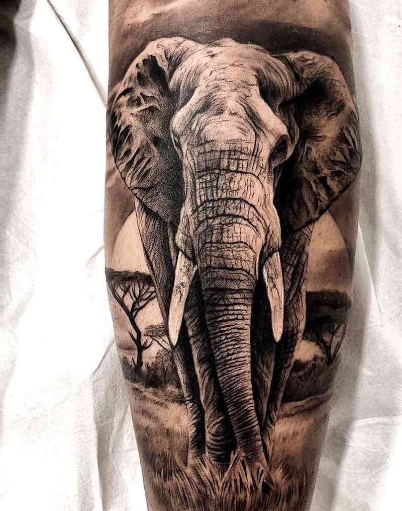 Elephant Tattoo by Sergio Fernandez