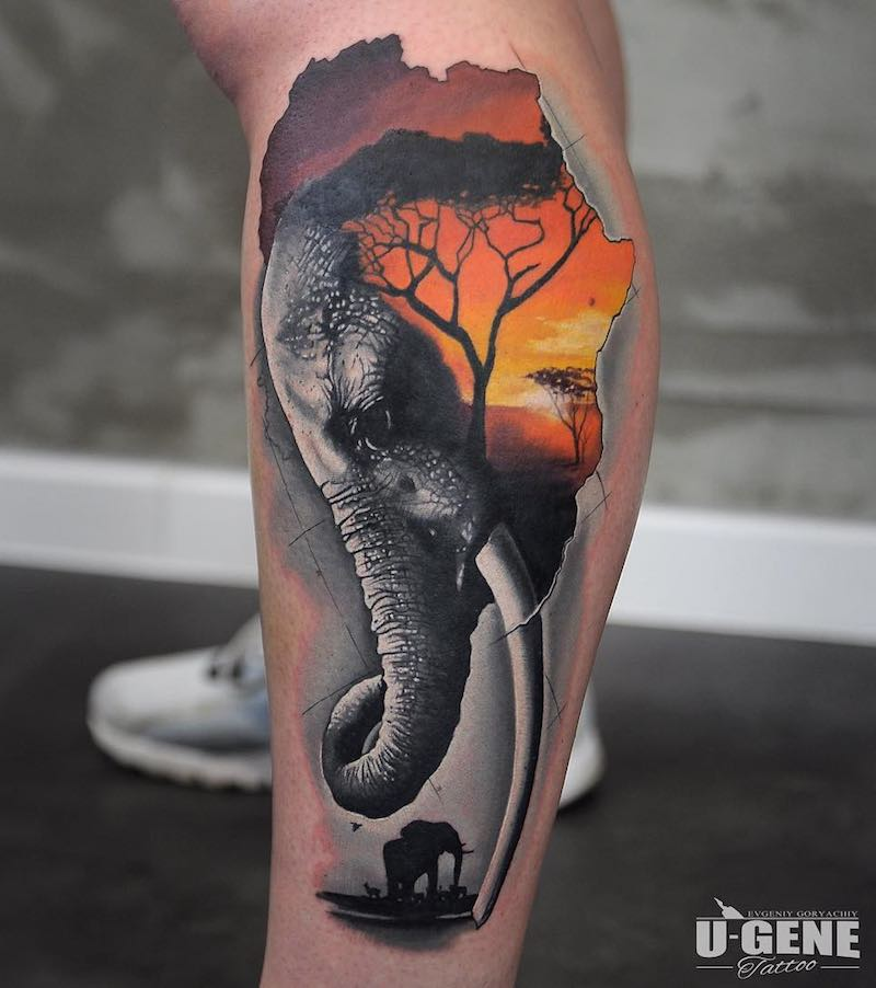 Elephant Tattoo by U-Gene