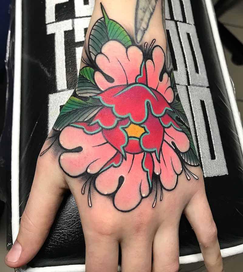 Hand Peony Tattoo by Marta Pari