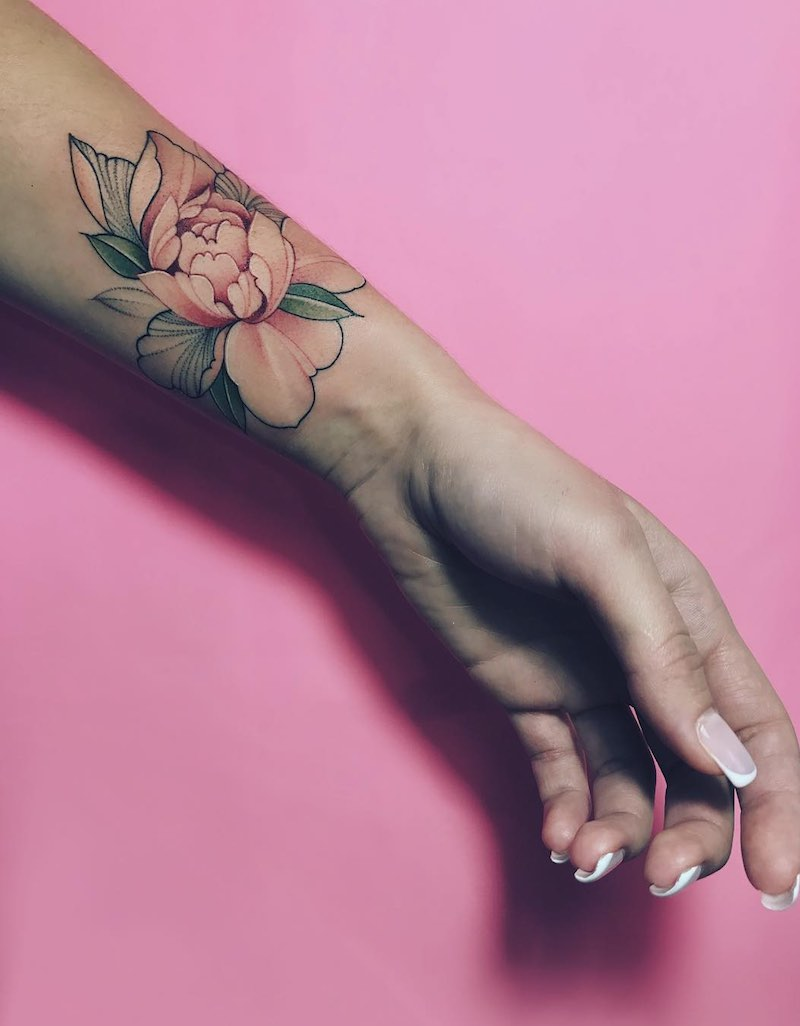 Peony Tattoo by Nora Ink