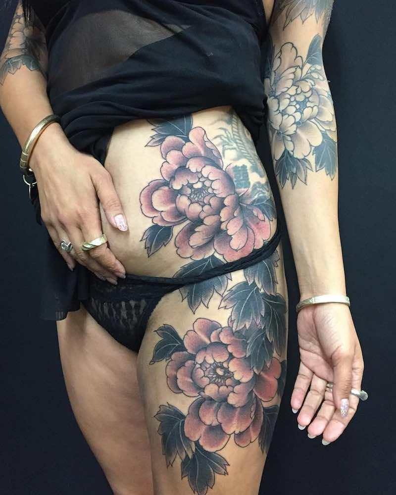Peony Tattoos by Rodrigo Souto