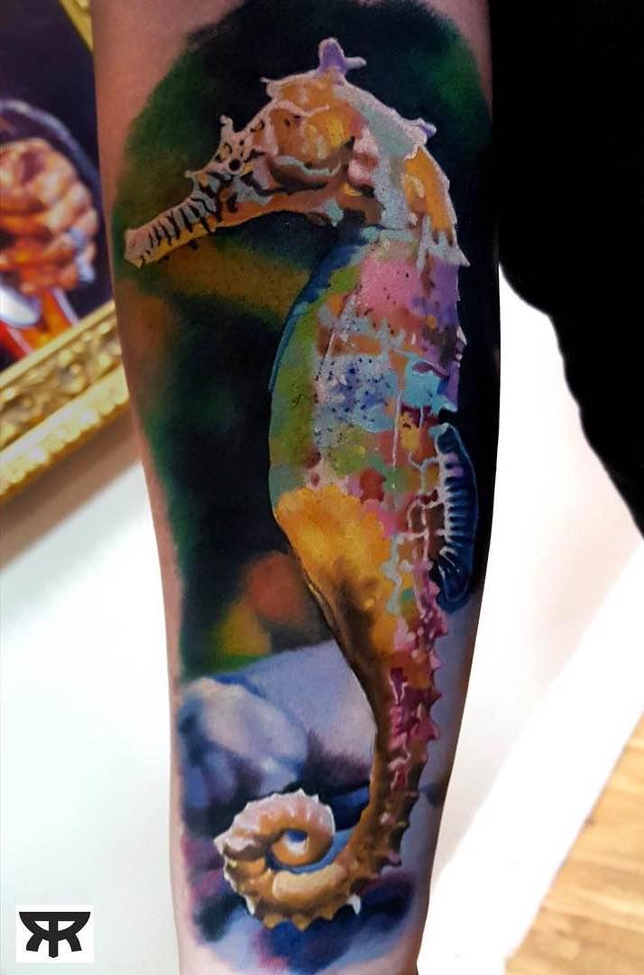 Seahorse Tattoo by Marcin Sonski