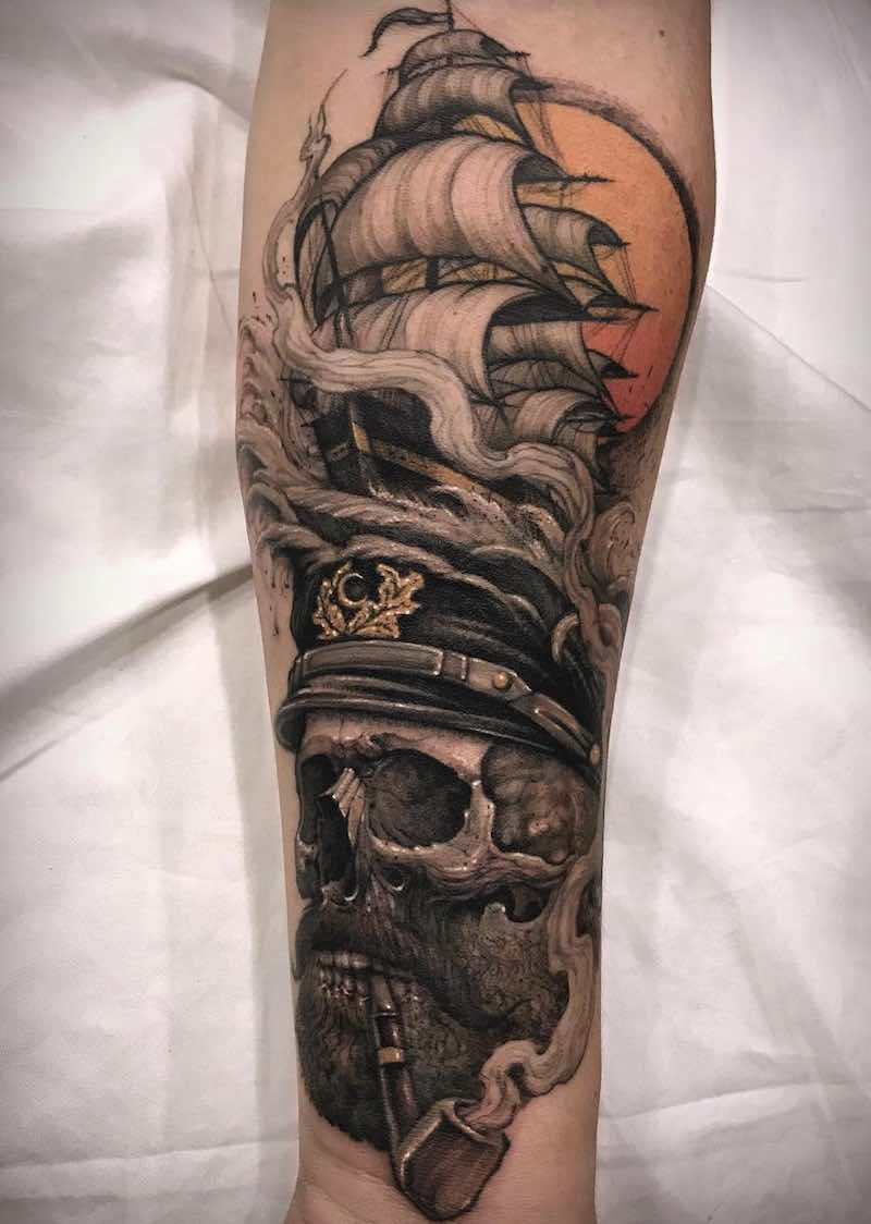 Ship and Skull Tattoo by Varo