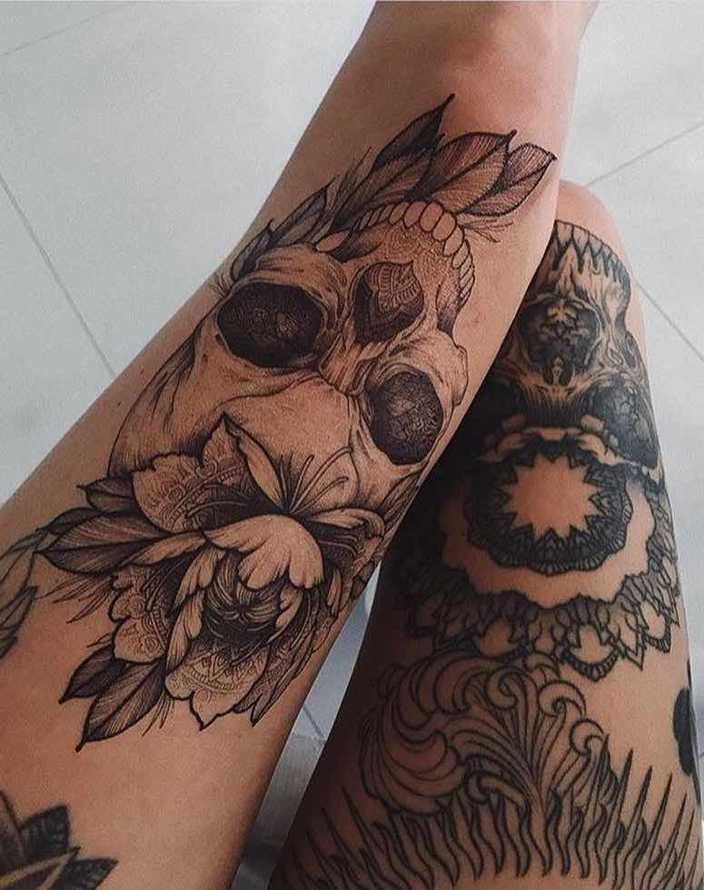 Skull Tattoo by Sasha Masiuk