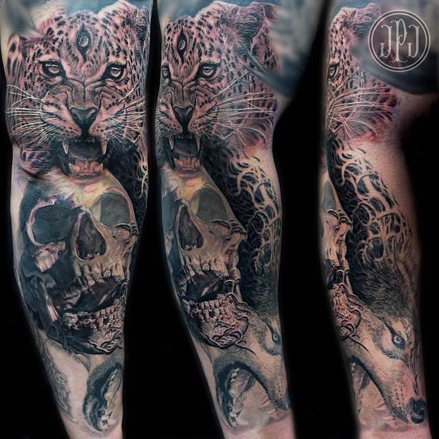 Skull and Jaguar Tattoo by Jose Perez Jr