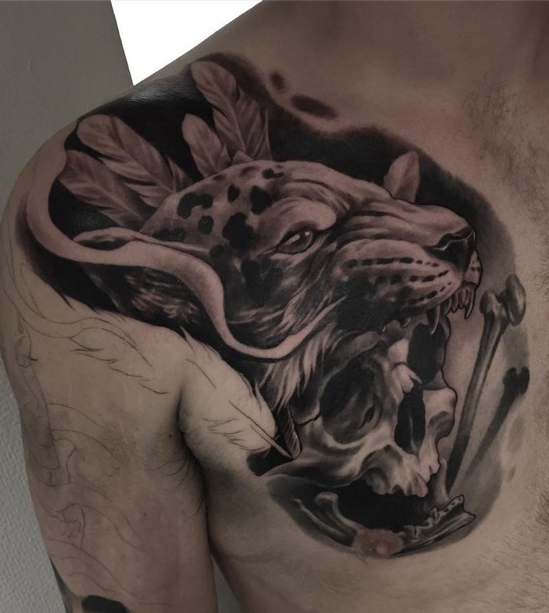 Skull and Jaguar Tattoo by Troels Hyllested Steffensen