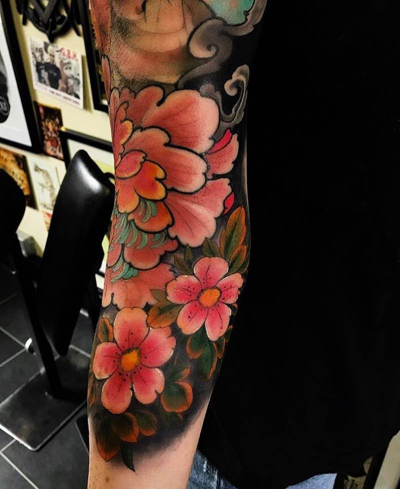 Sleeve Cherry Blossom Tattoo by Max Rathbone