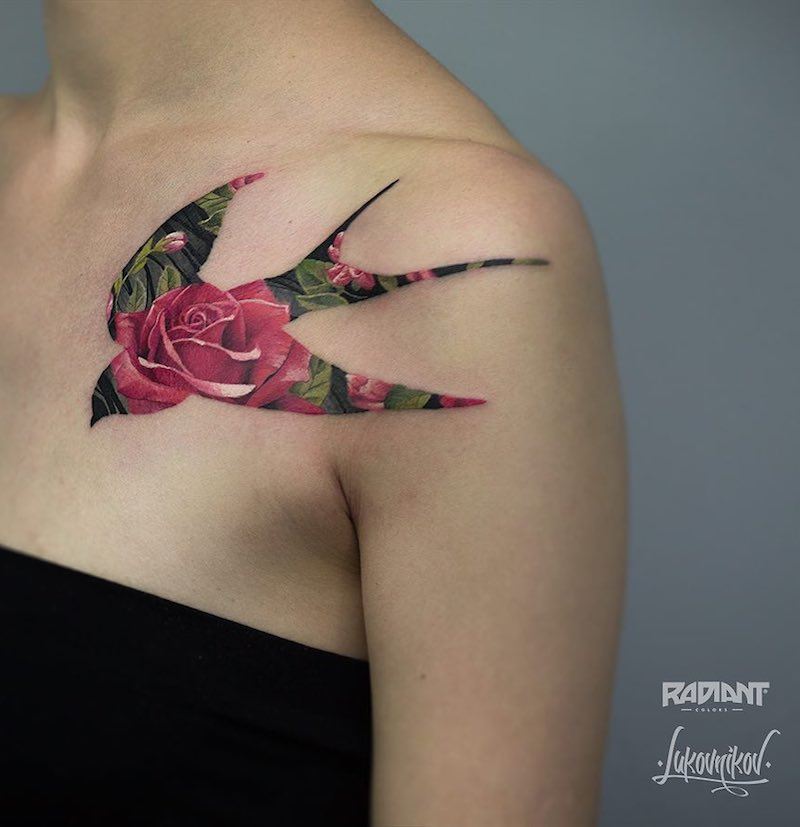 Swallow Tattoo by Andrey Lukovnikov