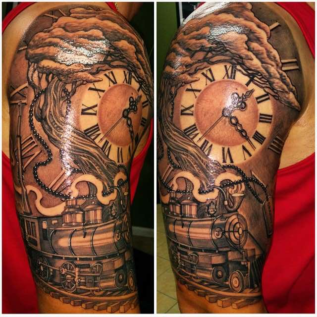 Train Clock and Tree Tattoo by Tazz