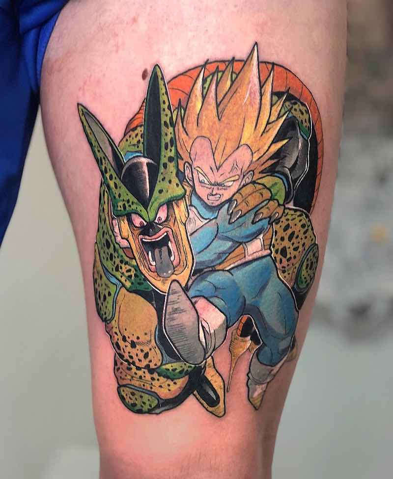 Vegeta and Cell Tattoo by Jimm Yimier