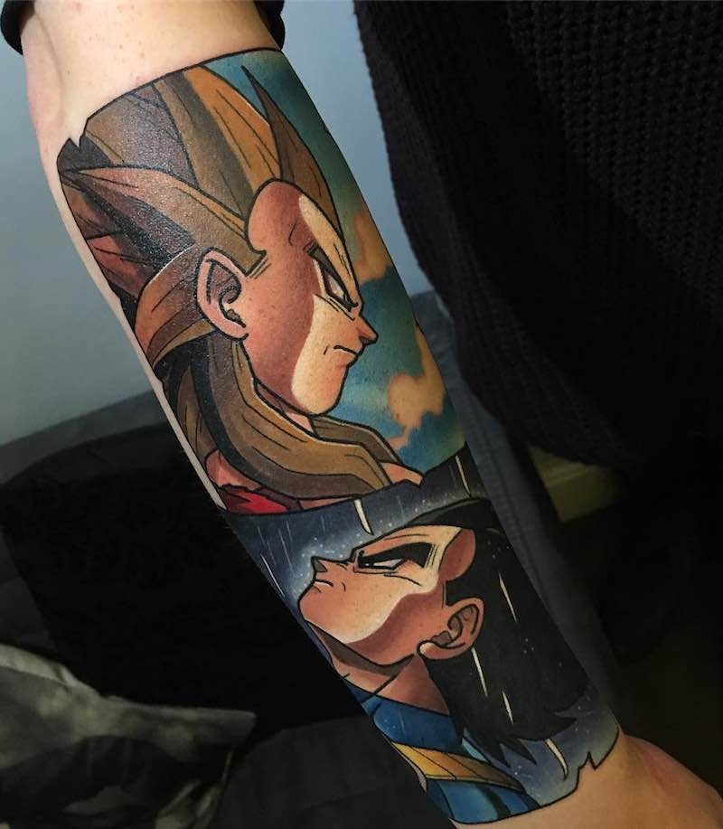 Vegeta and SS4 Vegeta Tattoo by Dane Grannon