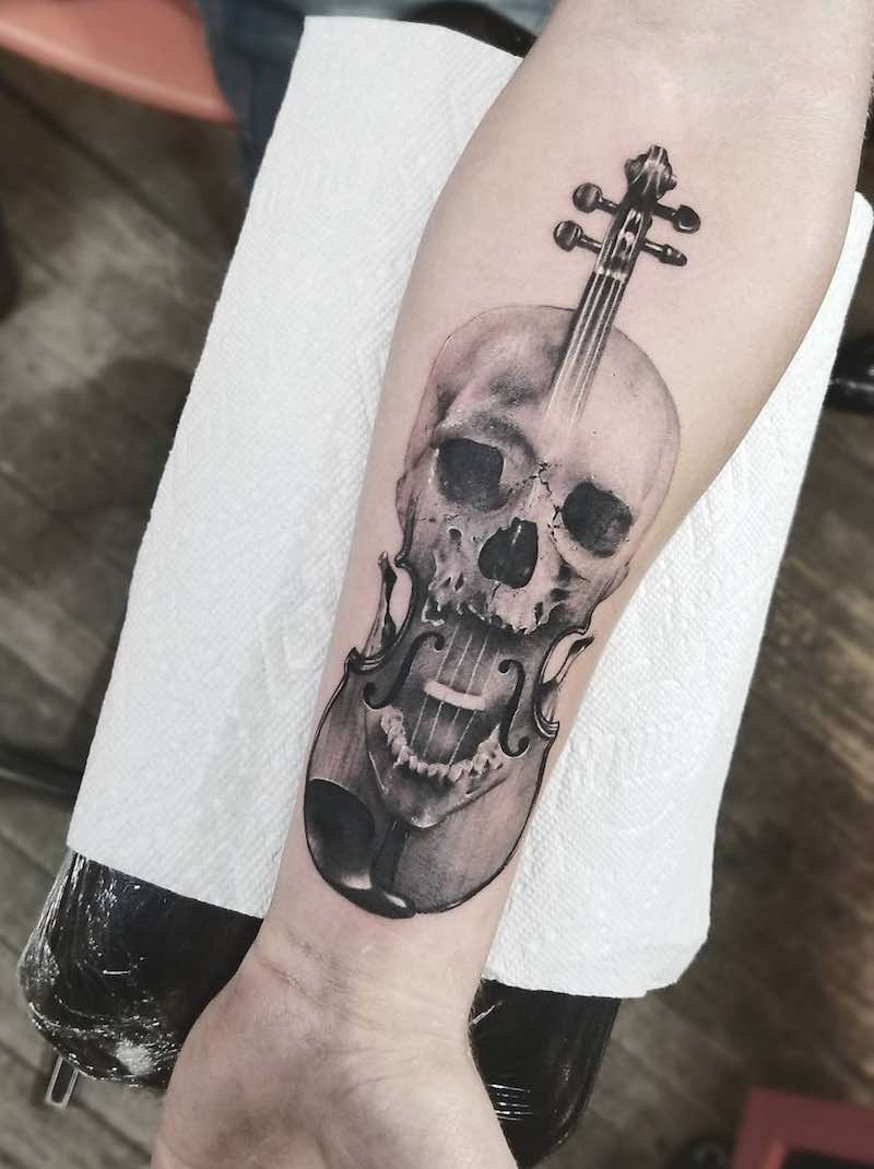 Violin Skull Tattoo by Cameron Pohl