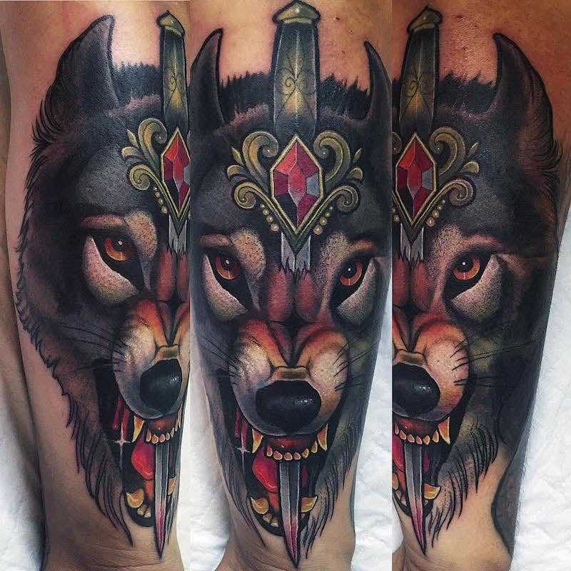 Wolf and Dagger Tattoo by The Witchdoctor