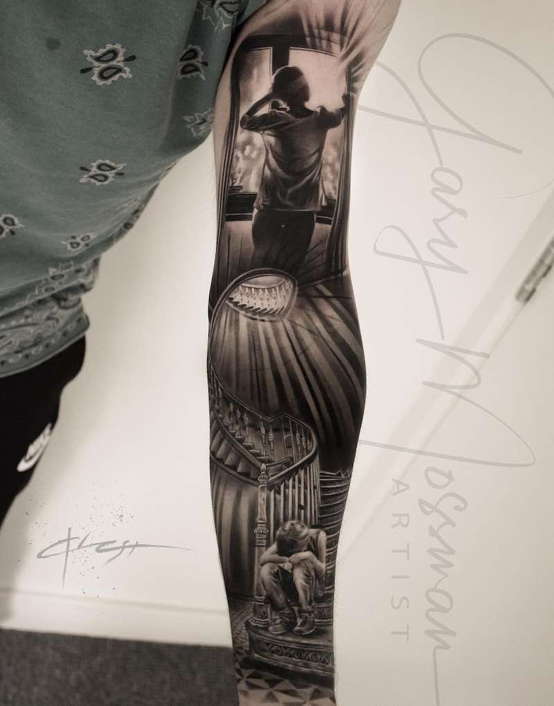 Black and Grey Realistic Sleeve Tattoo by Gary Mossman