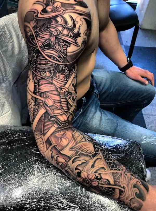 Black and Grey Samurai Tattoo Sleeve by Jimmy Lai