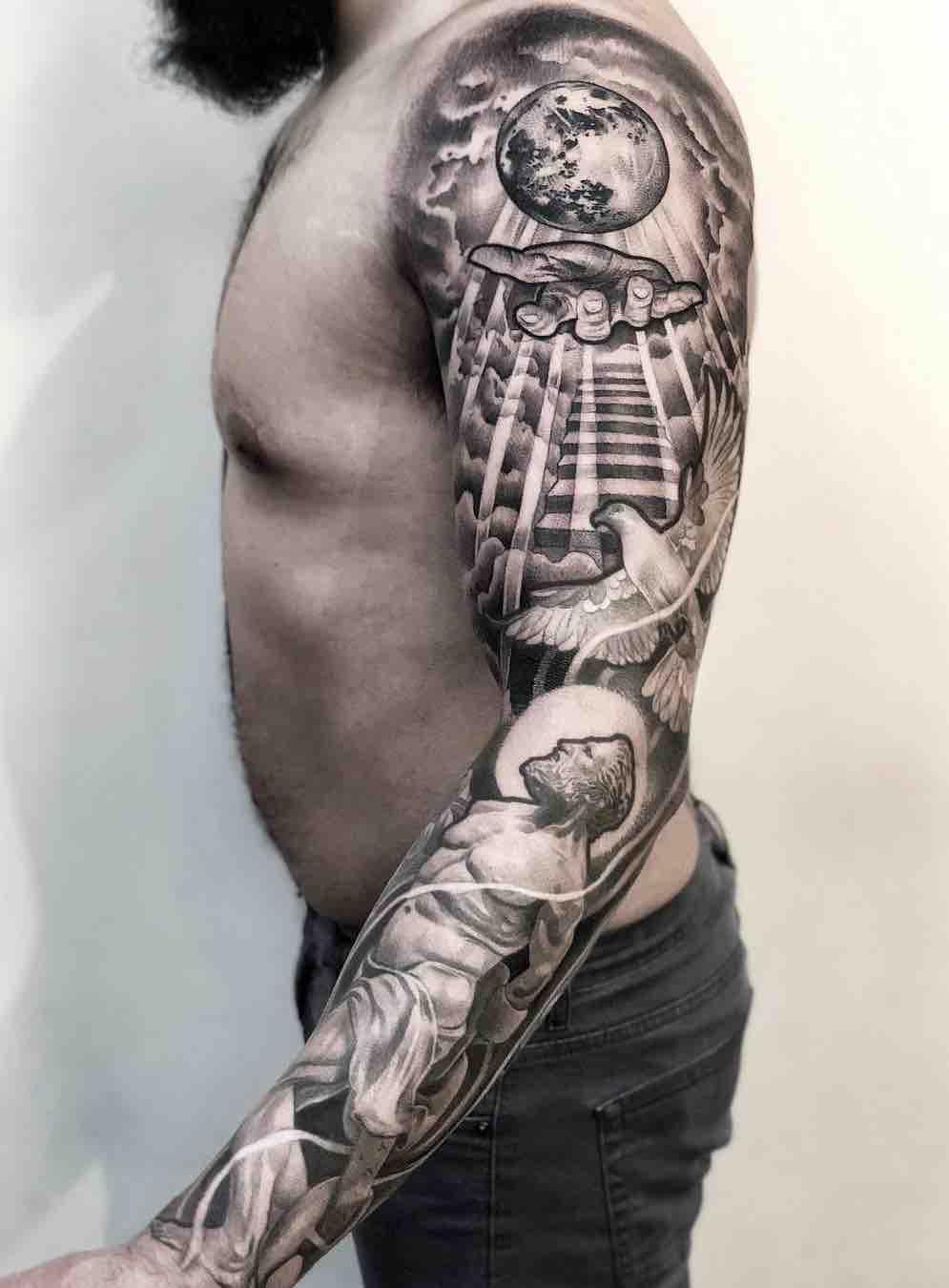 Black and Grey Tattoo Sleeve - Lilb Tattoo