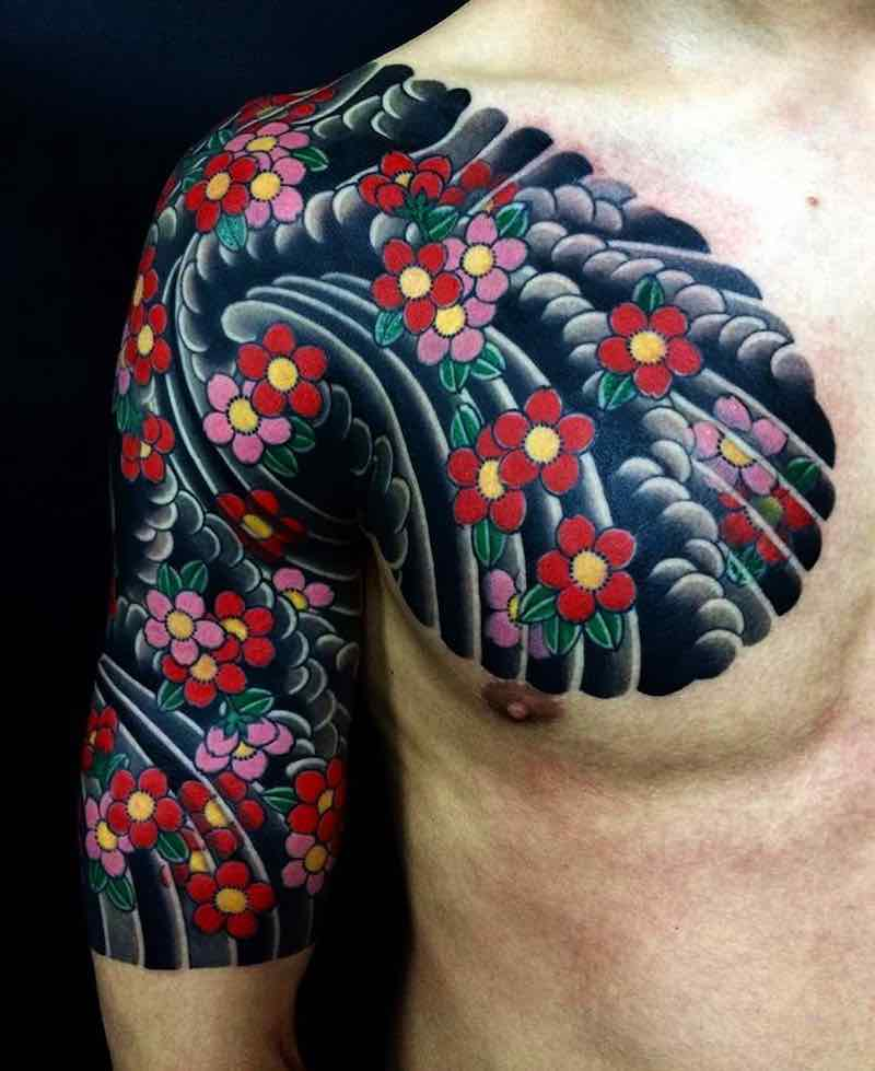 Cherry Blossom Half Sleeve Tattoo by Hori Hide
