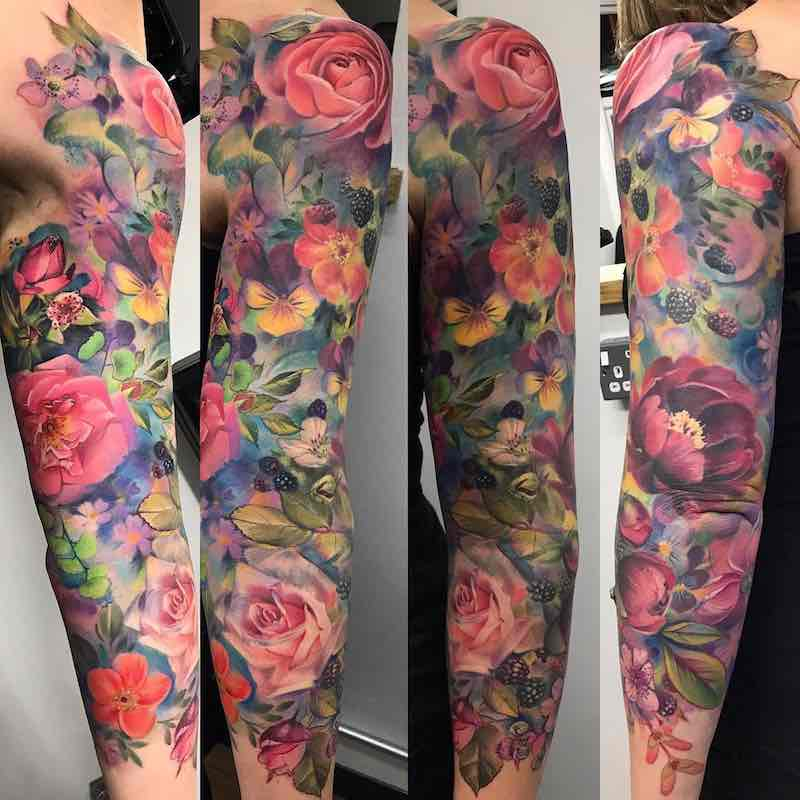 Color Flower Sleeve Tattoo by Samantha Ford