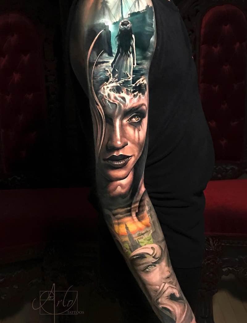 Color Sleeve Tattoo by Arlo DiCristina