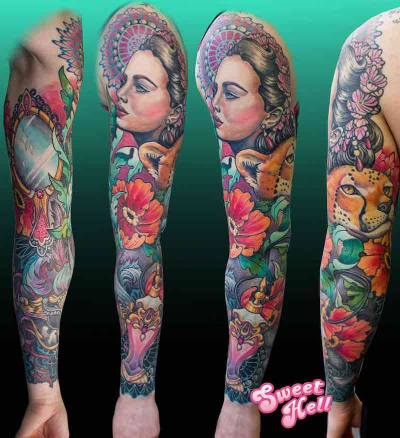 Color Sleeve Tattoo by Marlena Sweet Hell