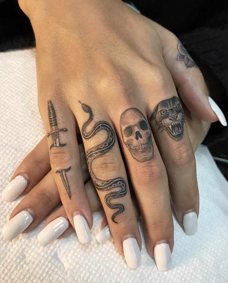 Dagger, Snake, Skull, Panther Small Finger Tattoos by Ben Grillo