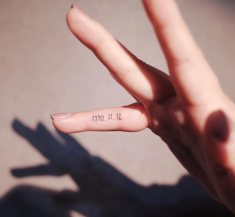 Date on Finger Tattoo by Witty Button