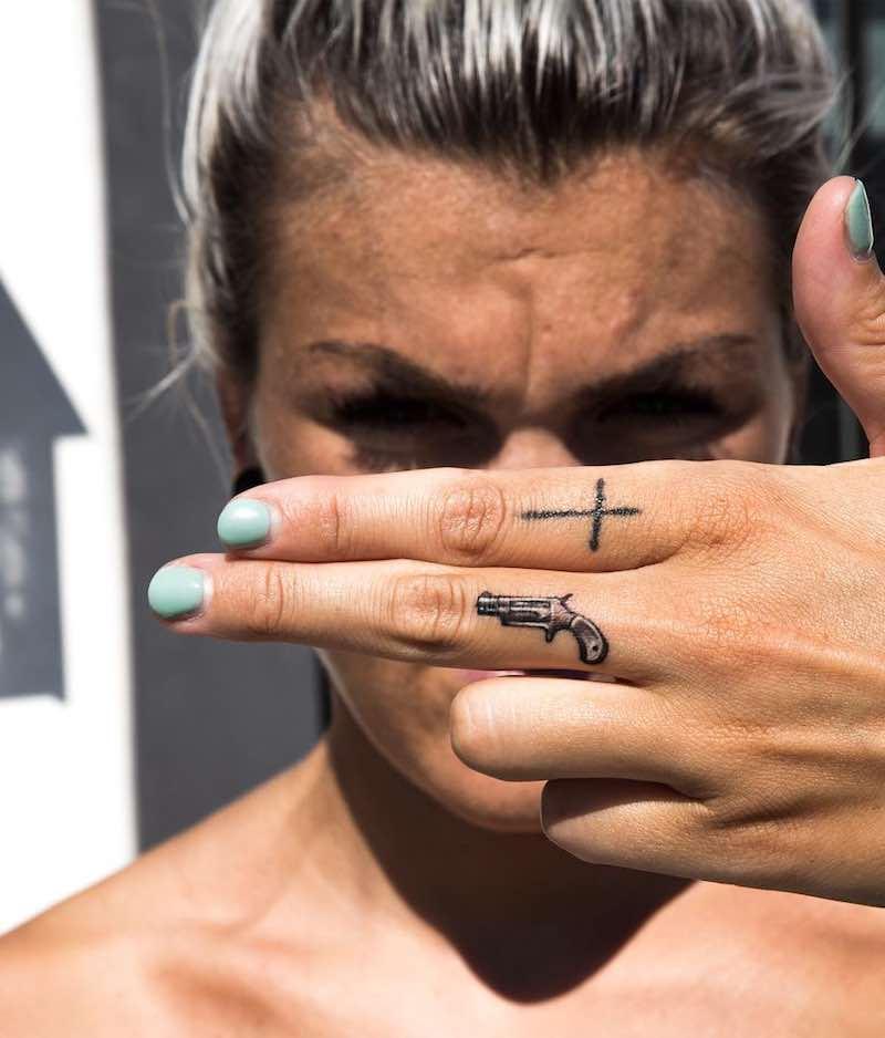 Gun Finger Tattoo by niki23gtr