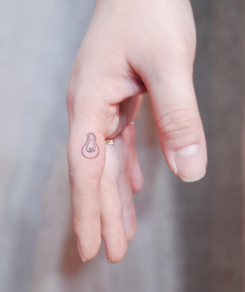 Light Bulb Finger Tattoo by Witty Button
