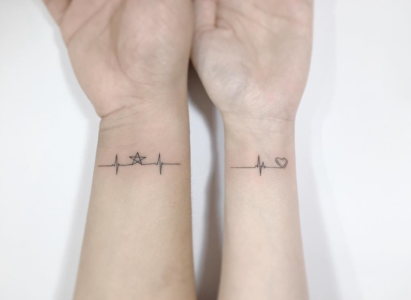 Matching Lifeline Tattoo by Playground Tattoo