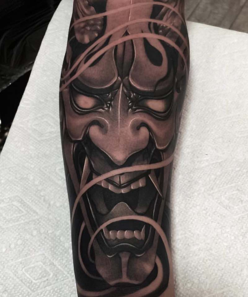 Oni Mask Japanese Tattoo by Wilson Pan