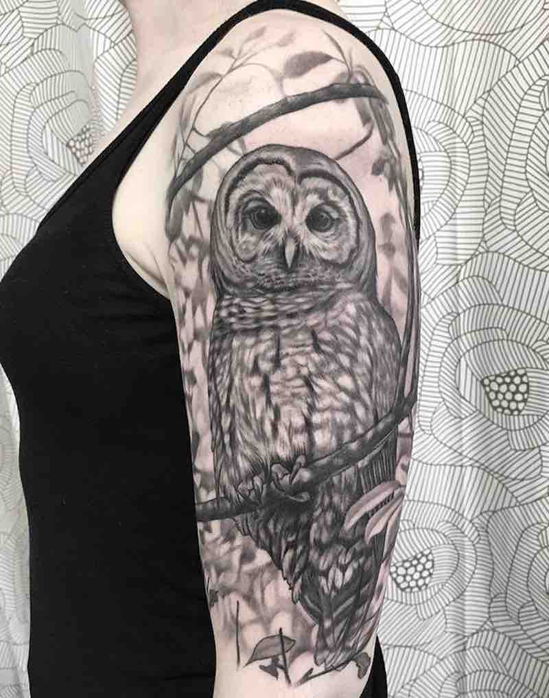 Owl Half Sleeve Tattoo by Suzanna Fisher