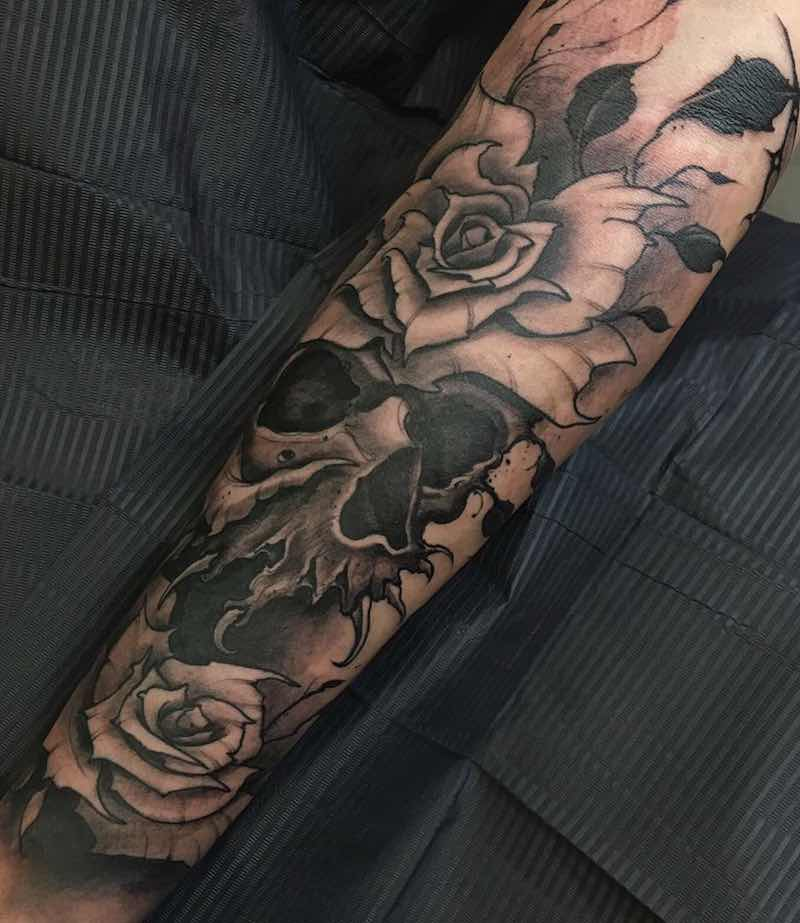 Skull Half Sleeve Tattoo by Joao Bosco