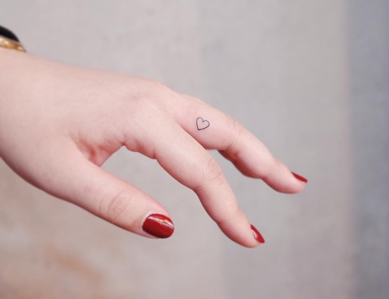 Small Heart Finger Tattoo by Witty Button