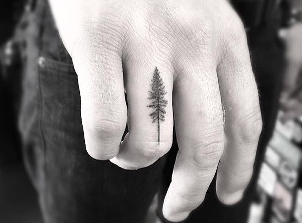 Tree Small Finger Tattoo by Doctor Woo