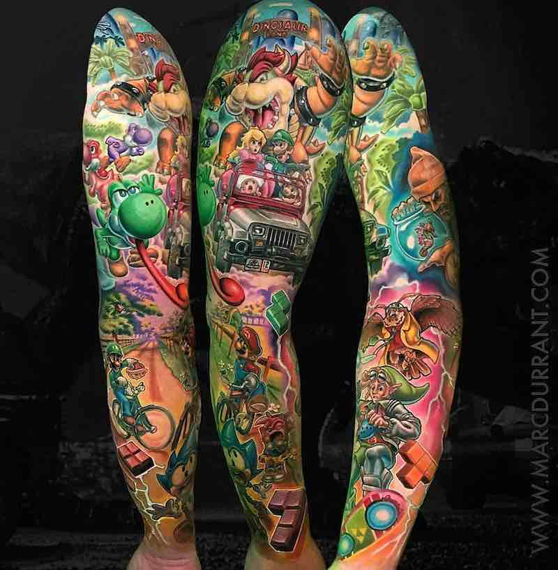 Colored Sleeve Tattoo Of Birds: Best Sleeve Tattoos