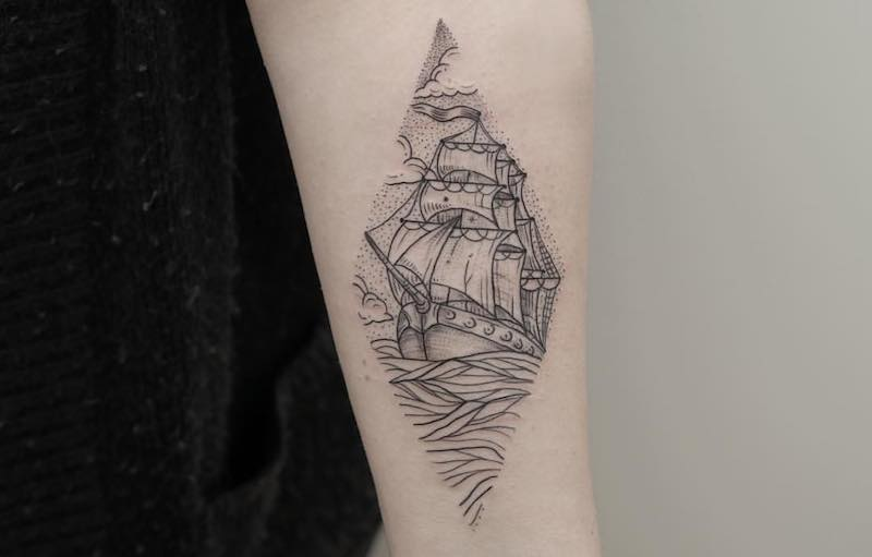 Ship Tattoo by Phoebe Hunter