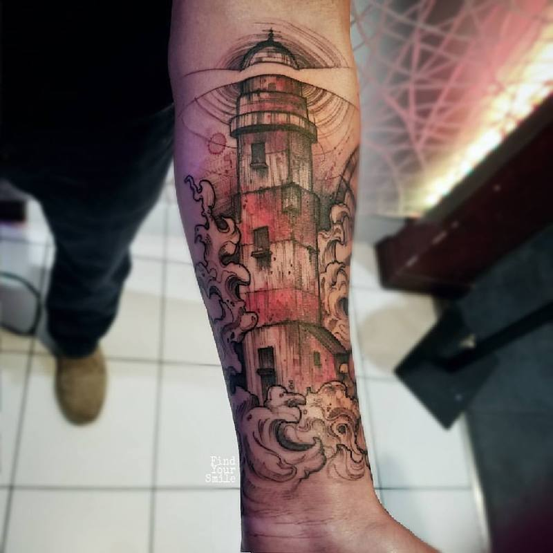 Lighthouse Tattoo 2 by Russell Van Schaick