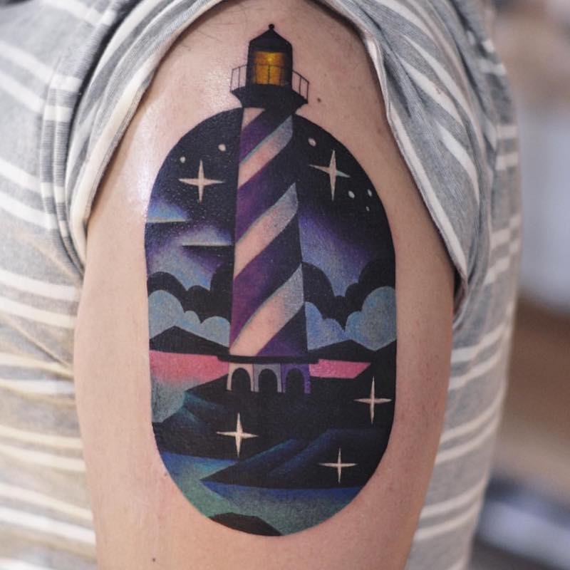 Lighthouse Tattoo by David Peyote