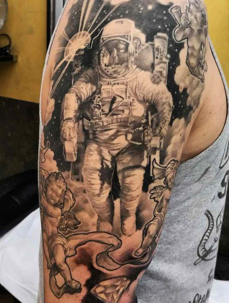 Astronaut Tattoo by Sonny Superglue