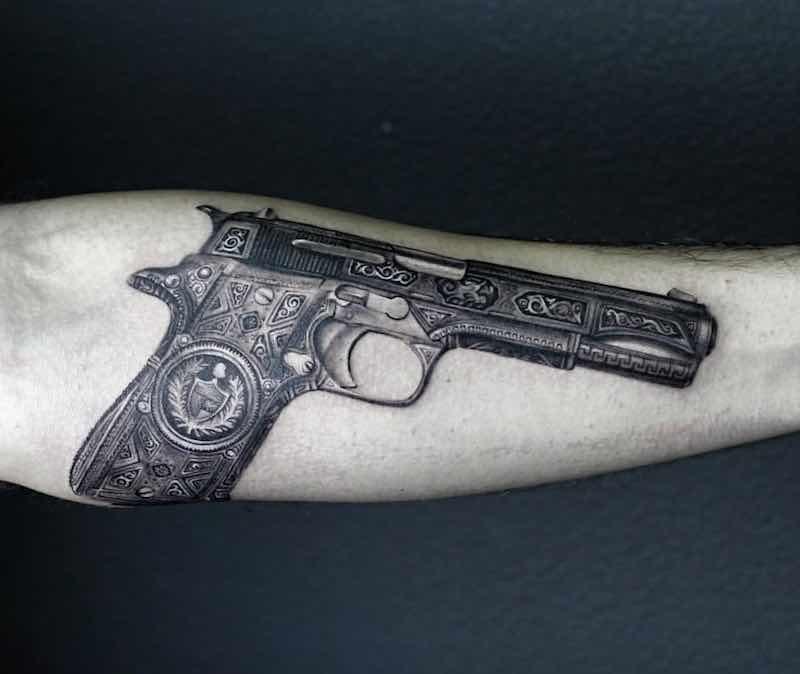 Gun Tattoo by Alexander Voron