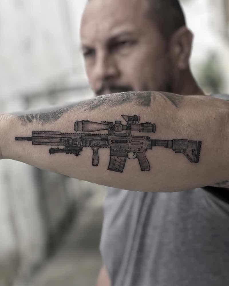 Gun Tattoo by Pierre Moraes Foster