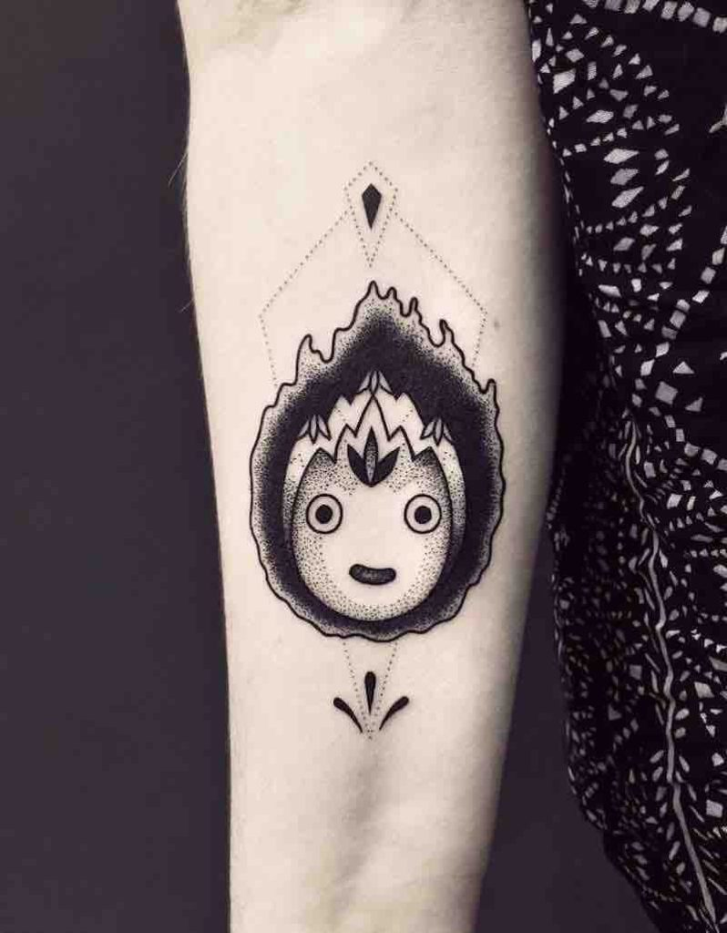 Howls Moving Castle Calcifer Tattoo by Violette Chabanon