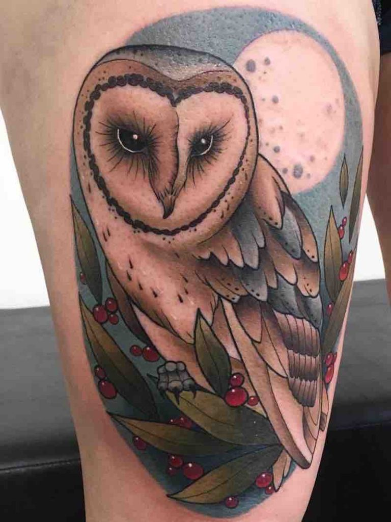 Owl Tattoo by Fraser Peek