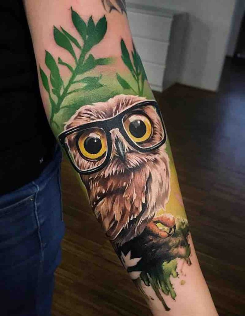 Owl Tattoo by Sandra Daukshta