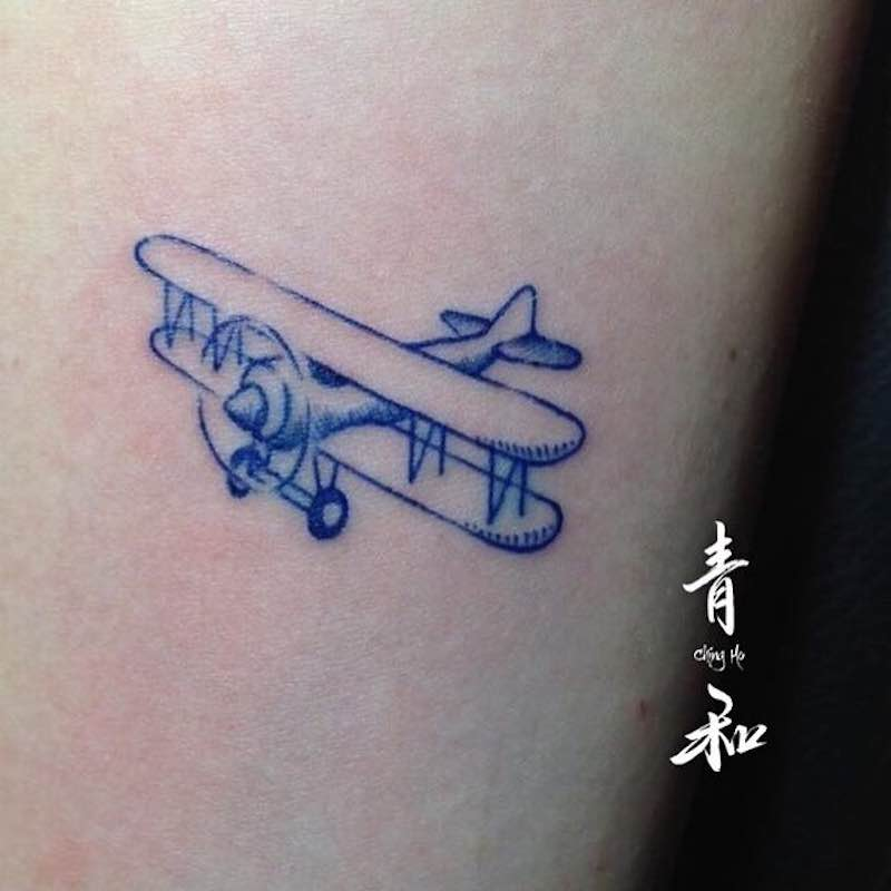 Plane Tattoo by Giant Lee