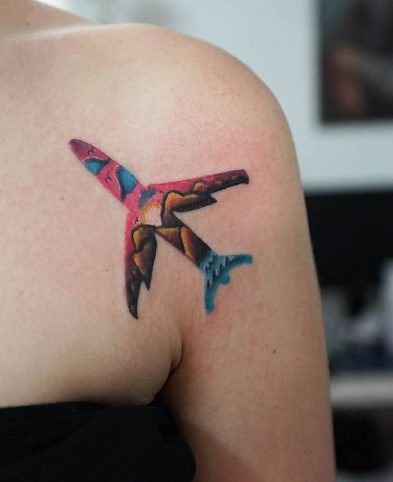 Plane Tattoo by Ksu Arrow